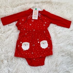 Carters Santa baby girl dress set of 3 red sz 3M